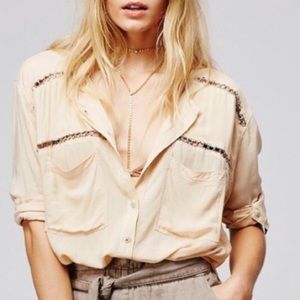 Free People Ring Detail Beige Button Up Shirt S
